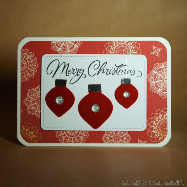 Xmas card: Felt baubles
