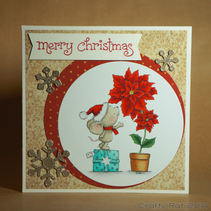 Xmas card: Mouse and poinsettia
