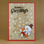 stencilled tree with fox and snowman