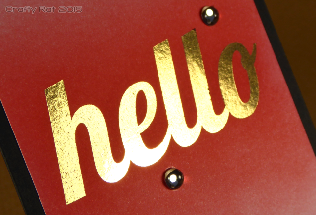 Gold foiled hello card detail