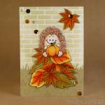 hedgehog on leaf pile