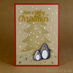 stencilled tree and penguins