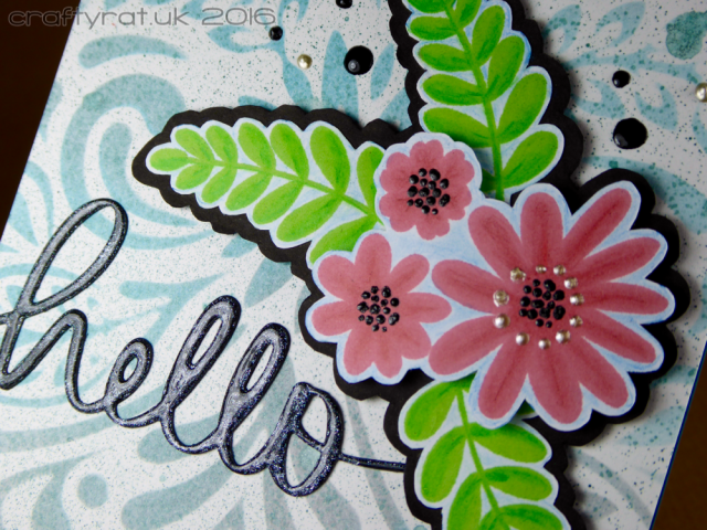 stamped and stencilled flowers detail
