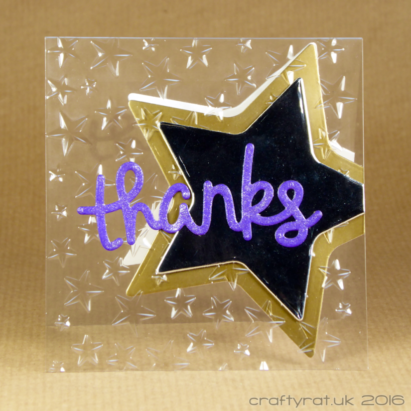Dry embossed acetate thanks card