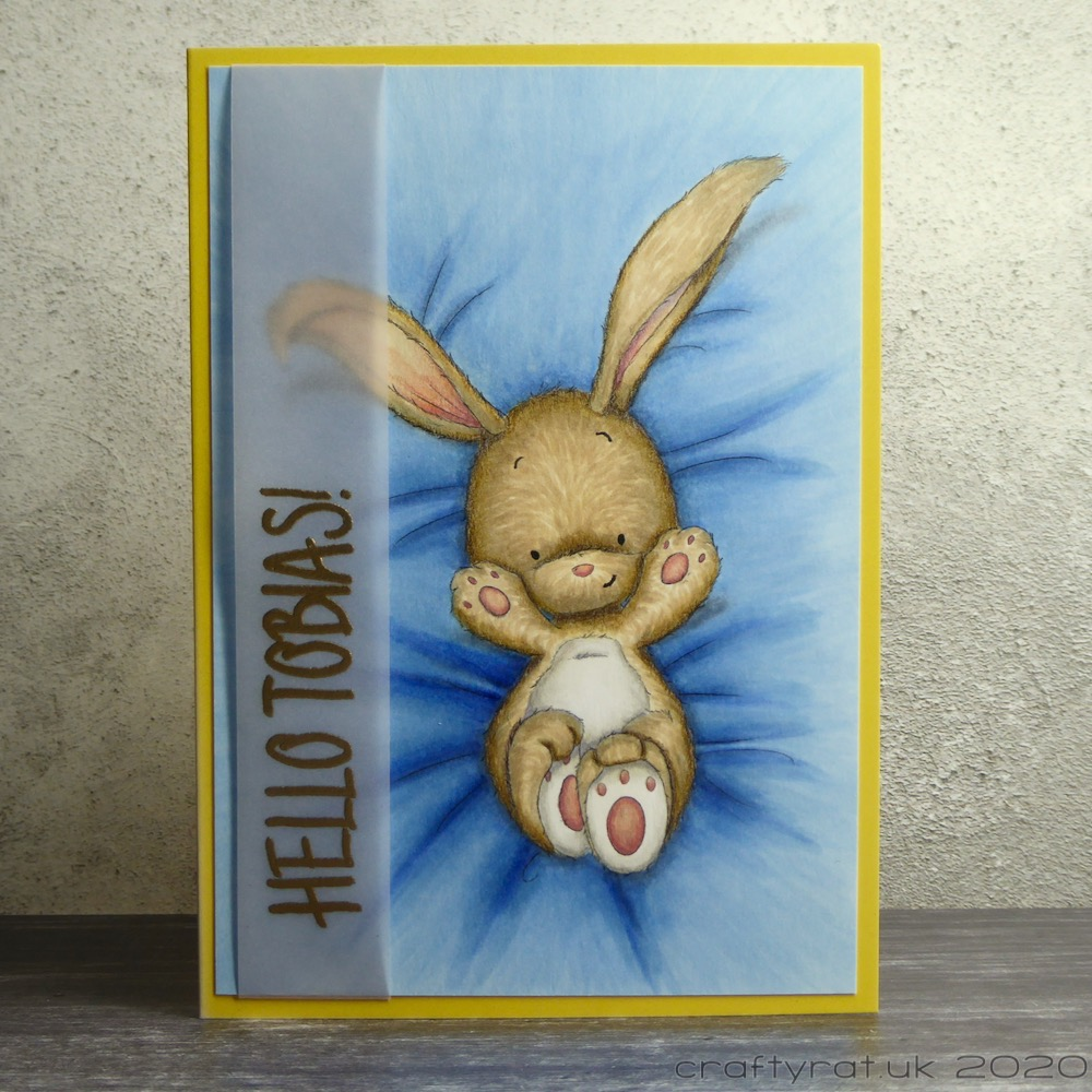 "Greetings card for a new baby with a bunny lying on its back on a blue blanket and a vellum strip with ""hello Tobias!"" embossed in gold."