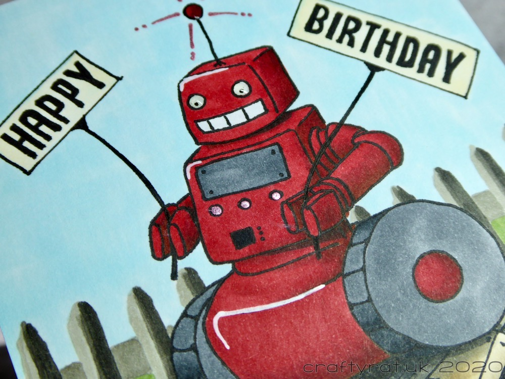 Close-up of the red robot.