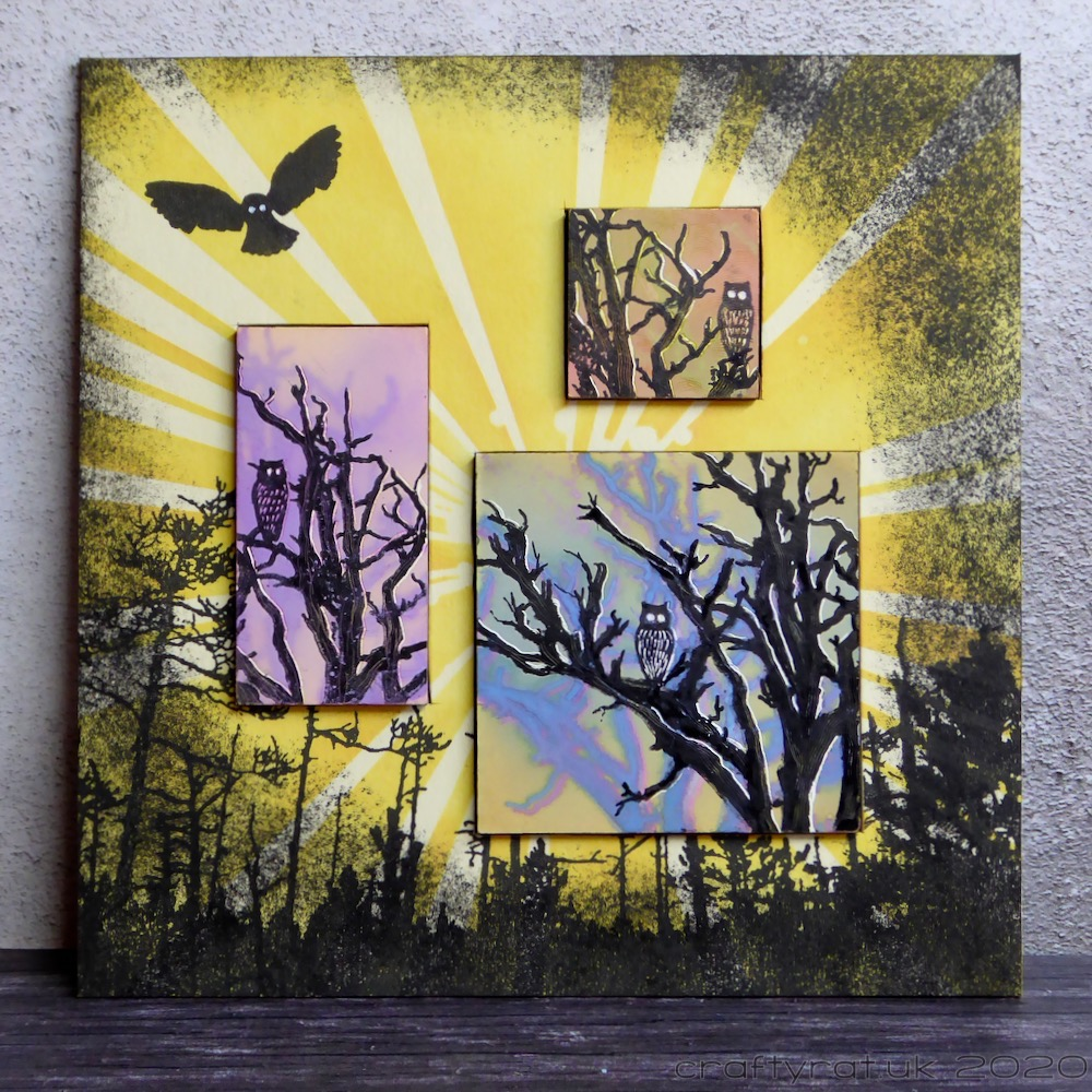 Three small images of silhouetted owls in trees set into a yellow background with stencilled rays of light, a forest, and an owl in flight.