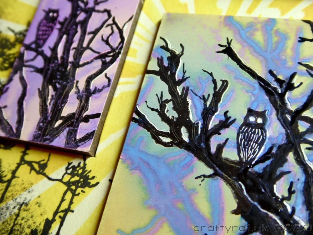 "Close-up of ""Forest Owls""."