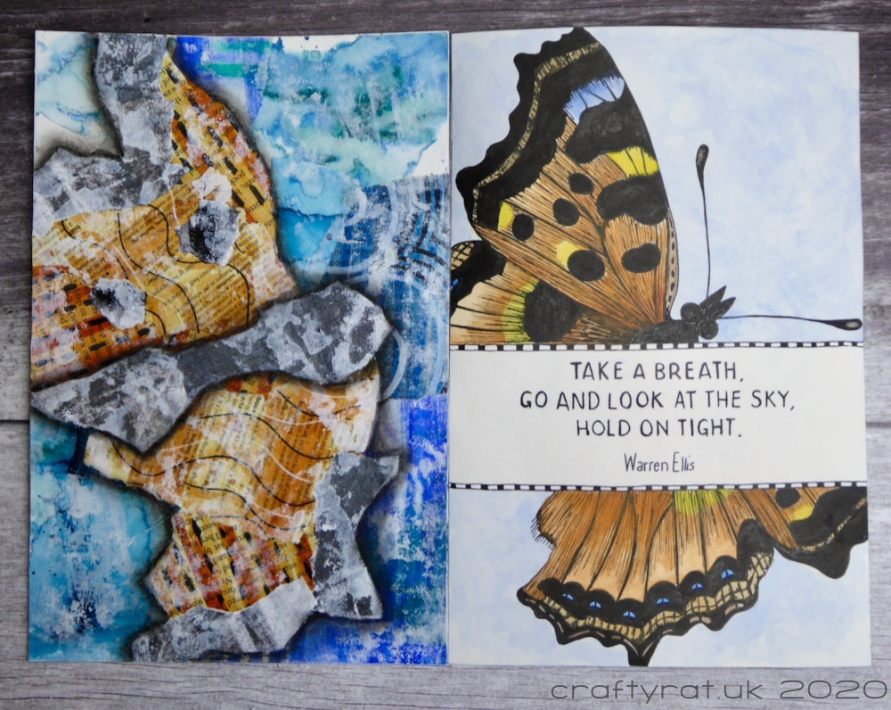 Two-page spread with the butterfly on the right and the matching collage page on the left.