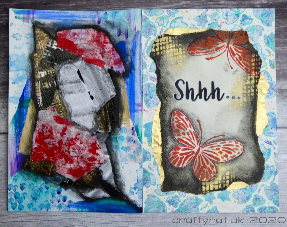 Art journal page with corresponding collage page which roughly mimics the colour layout of the main journal page.