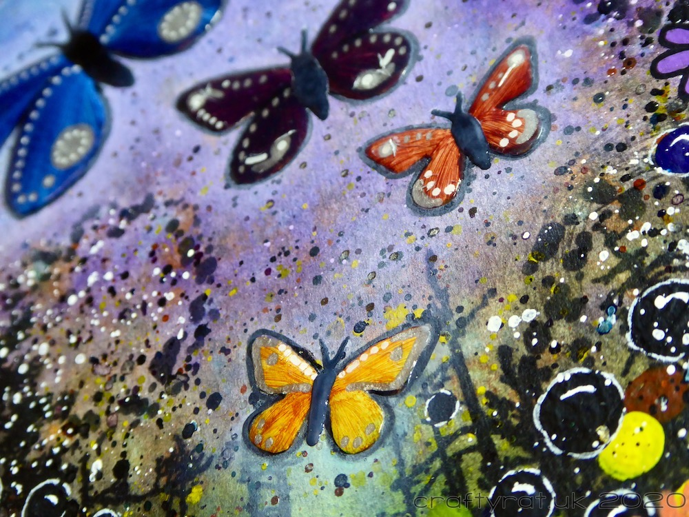 A close-up of the butterflies and some of the background texture.