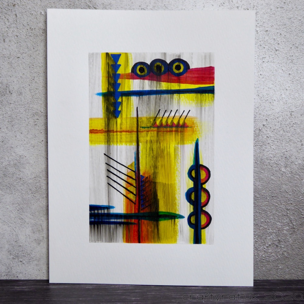 Abstract painting with red, yellow and blue shapes covered with a layer of translucent vertical black swipes.