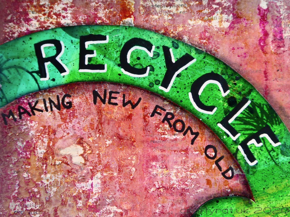 "A close-up of the Recycle Now logo with the word RECYCLE  on it and the phrase ""making new from old"" underneath."