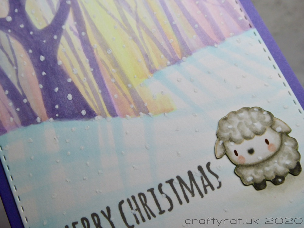 Close-up of the sheep and the centre of the card.