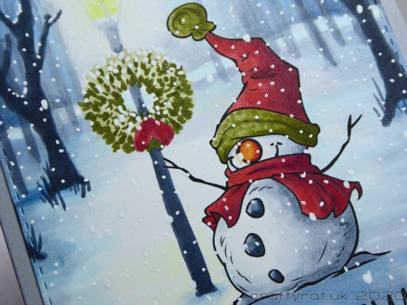 Close-up of the snowman.