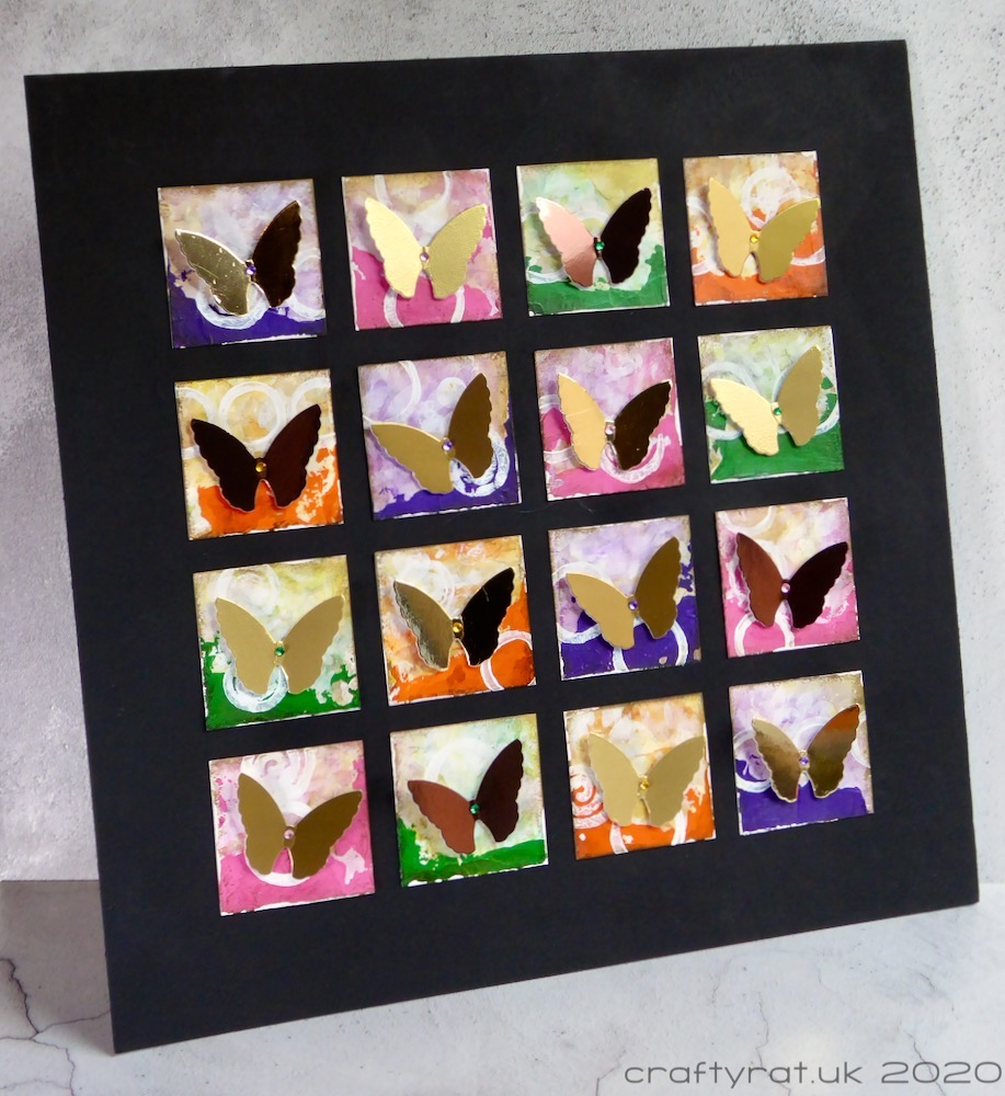 The butterfly grid displayed at an angle to show the dimension of the butterflies.