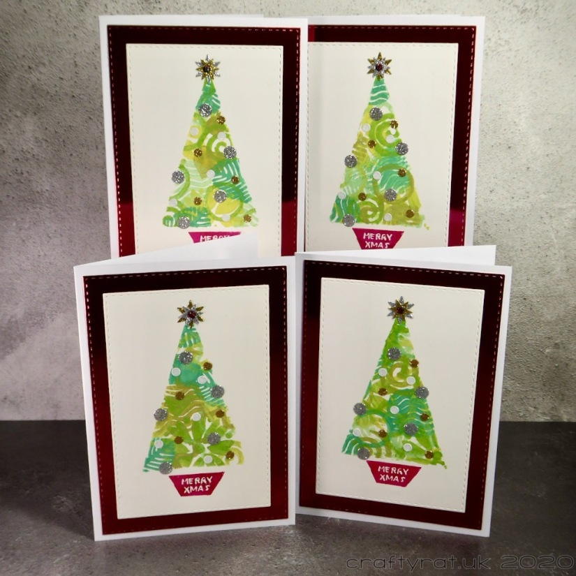 All four variants of the Christmas tree card.