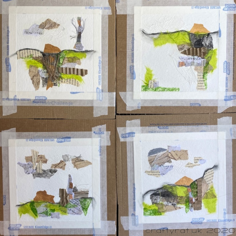 The four landscapes with the horizon lines drawn in and the collage materials in place.