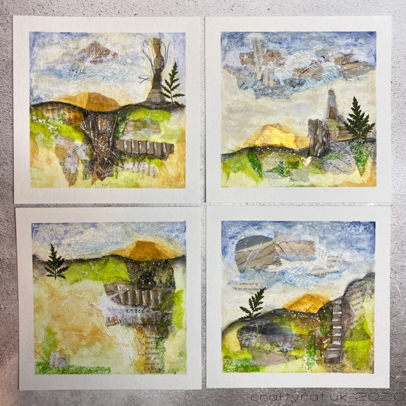 Four abstract collage-based landscape mixed media works.