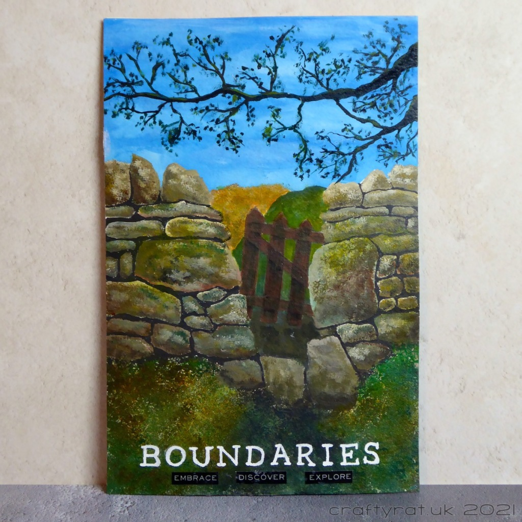 An art journal page with a painting of a dry stone wall in a field with a tree branch overhanging it.