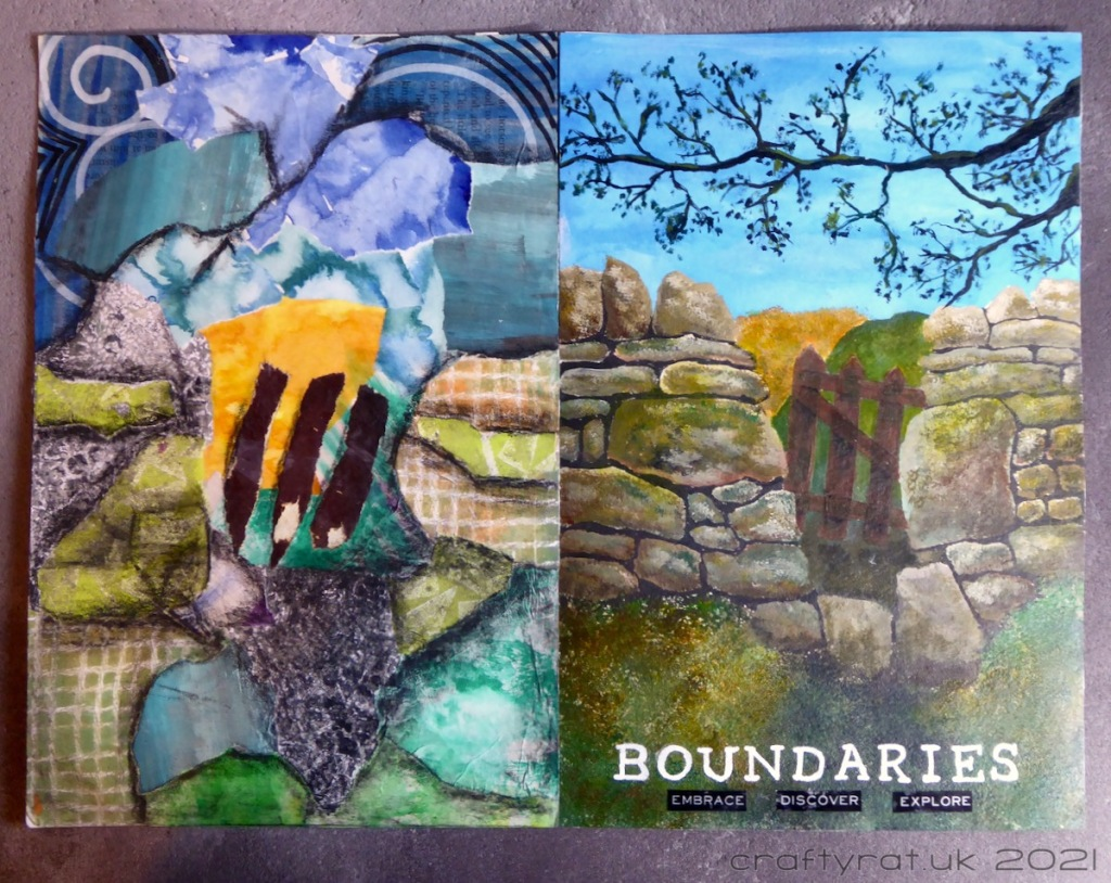 The art journal page with its matching collage page.